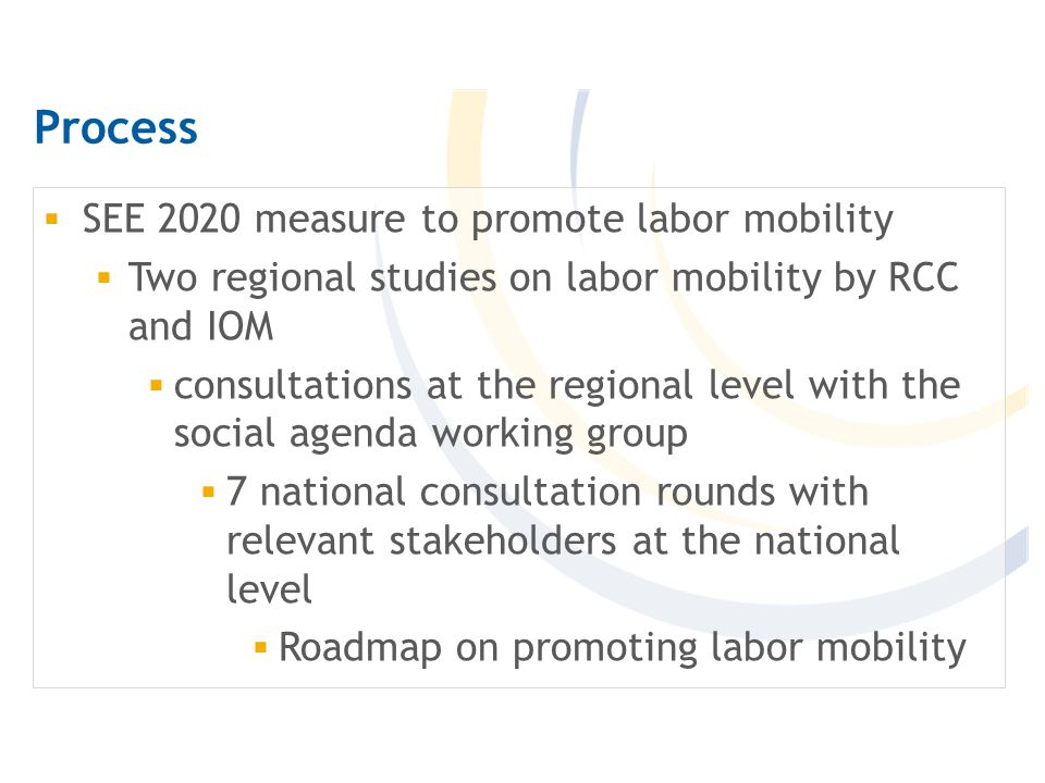 Process  SEE 2020 measure to promote labor mobility  Two regional studies on labor mobility by RCC and IOM  consultations at the regional level with the social agenda working group  7 national consultation rounds with relevant stakeholders at the national level  Roadmap on promoting labor mobility