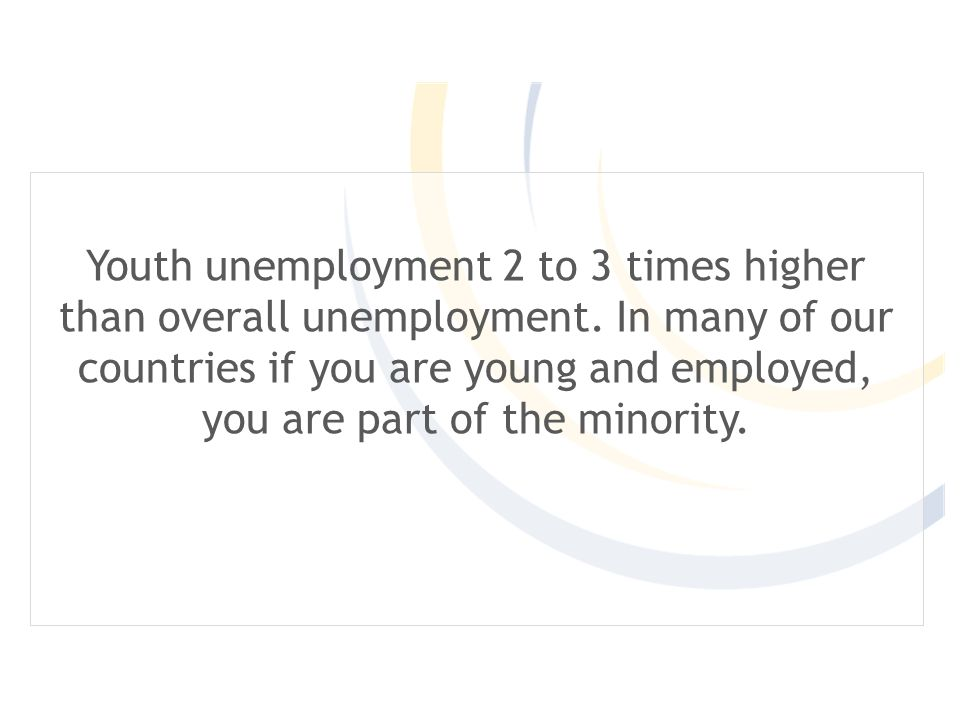 Youth unemployment 2 to 3 times higher than overall unemployment.