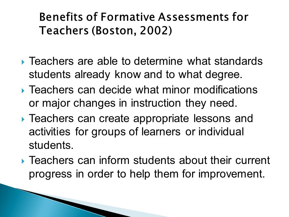  Teachers are able to determine what standards students already know and to what degree.