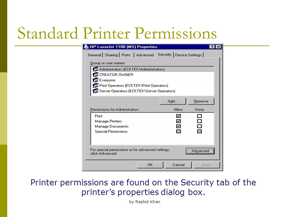 by Rashid Khan Standard Printer Permissions Printer permissions are found on the Security tab of the printer's properties dialog box.