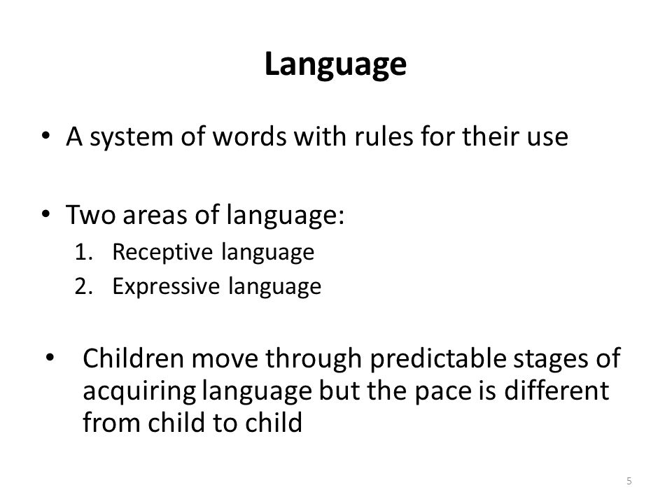Language A system of words with rules for their use Two areas of language: 1.Receptive language 2.Expressive language Children move through predictable stages of acquiring language but the pace is different from child to child 5