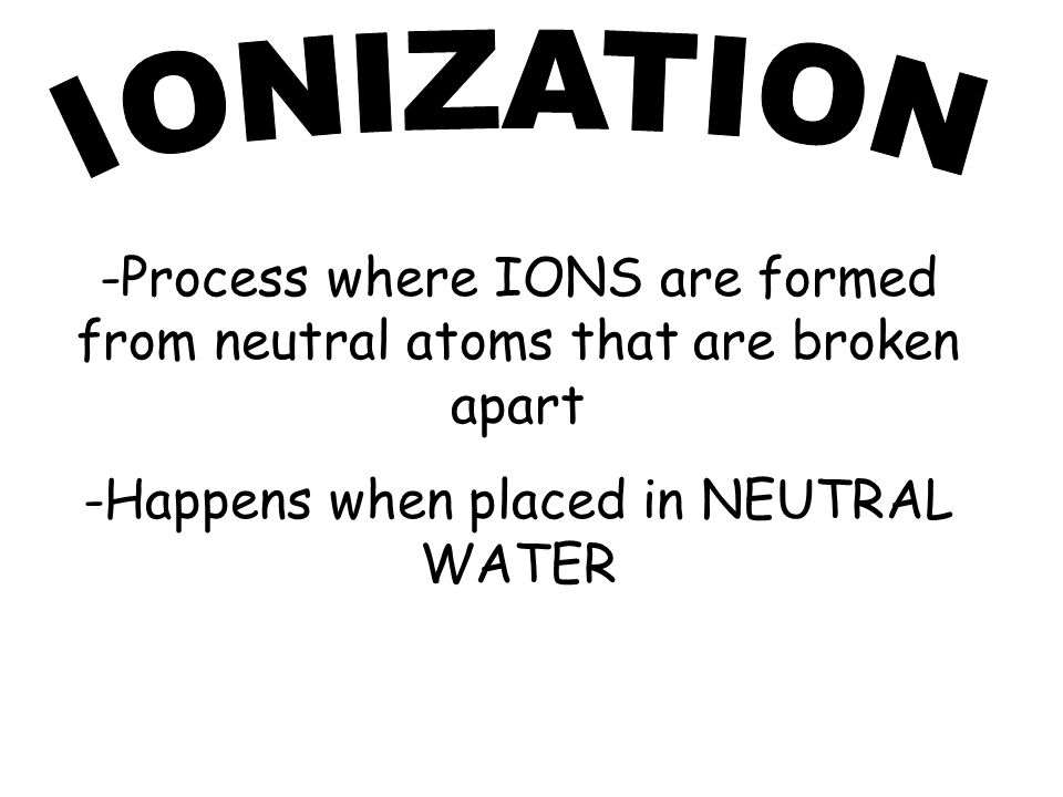 -Process where IONS are formed from neutral atoms that are broken apart -Happens when placed in NEUTRAL WATER