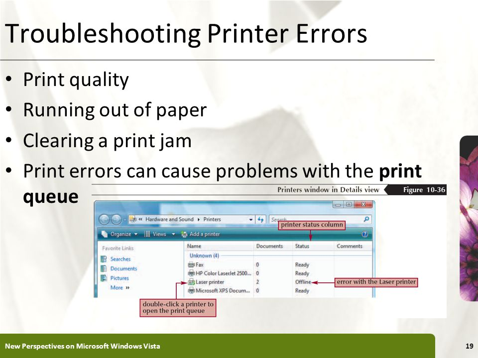 XP Troubleshooting Printer Errors Print quality Running out of paper Clearing a print jam Print errors can cause problems with the print queue New Perspectives on Microsoft Windows Vista19