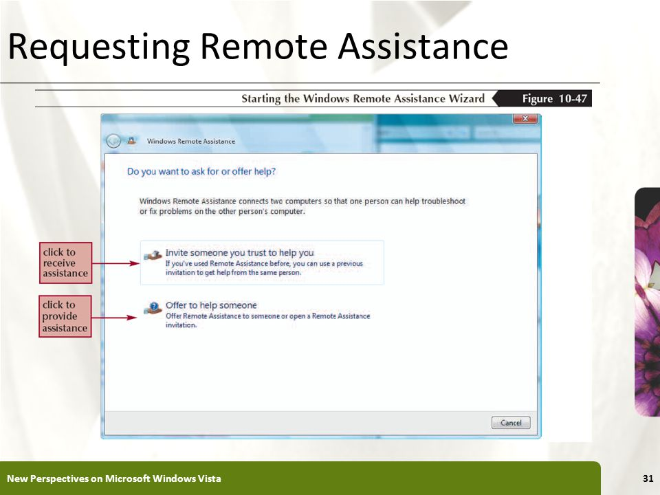XP Requesting Remote Assistance New Perspectives on Microsoft Windows Vista31