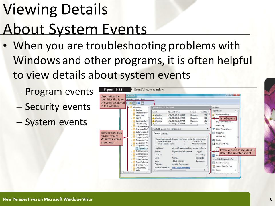 XP Viewing Details About System Events When you are troubleshooting problems with Windows and other programs, it is often helpful to view details about system events – Program events – Security events – System events New Perspectives on Microsoft Windows Vista8