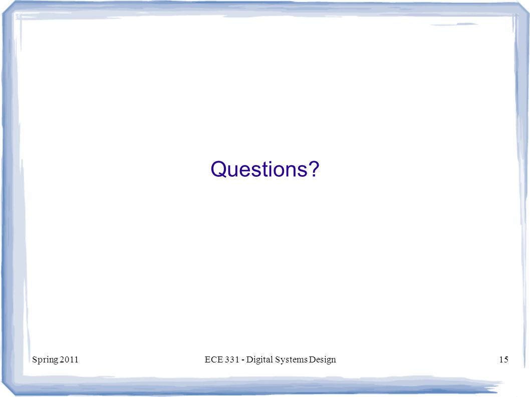 Spring 2011ECE Digital Systems Design15 Questions