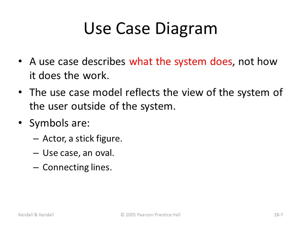 Use case modeling kendall kendall 2005 pearson prentice hall18 2 kendall kendall 2005 pearson prentice hall18 7 use case diagram a use case ccuart Gallery