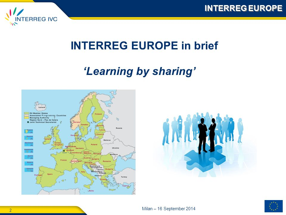 2 Milan – 16 September 2014 'Learning by sharing' INTERREG EUROPE in brief INTERREG EUROPE