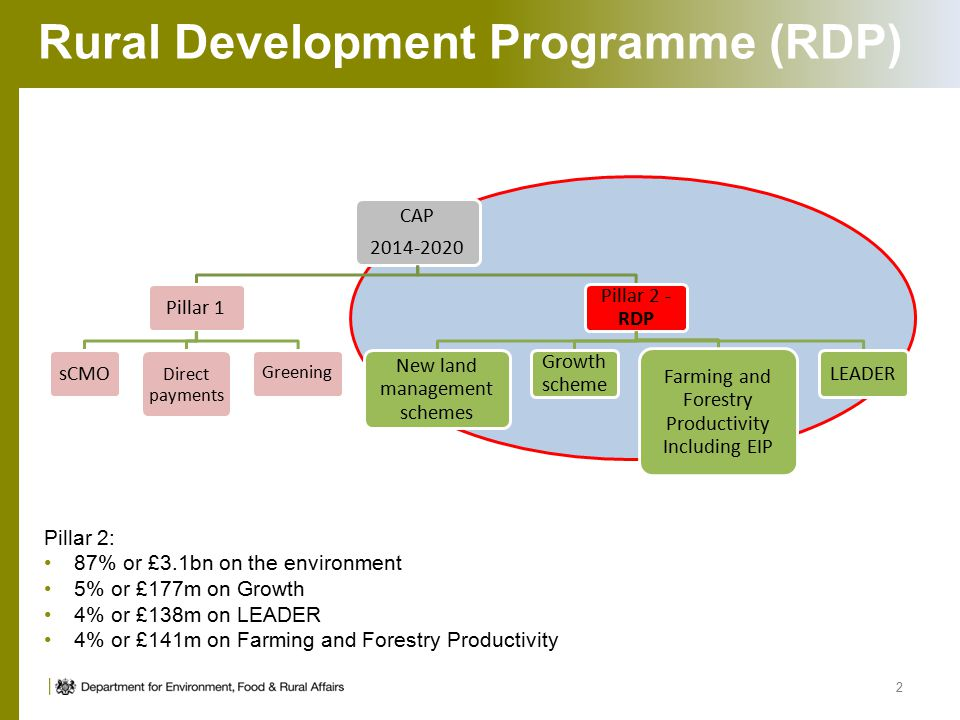 Rural Development Programme (RDP) 2 Pillar 2: 87% or £3.1bn on the environment 5% or £177m on Growth 4% or £138m on LEADER 4% or £141m on Farming and Forestry Productivity