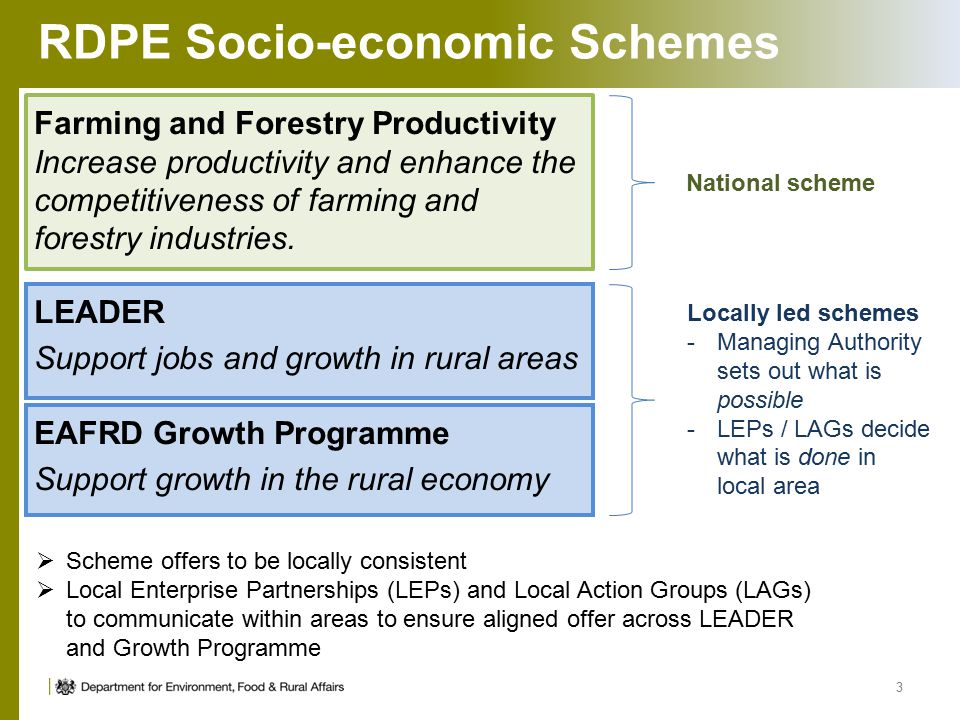 RDPE Socio-economic Schemes Farming and Forestry Productivity Increase productivity and enhance the competitiveness of farming and forestry industries.