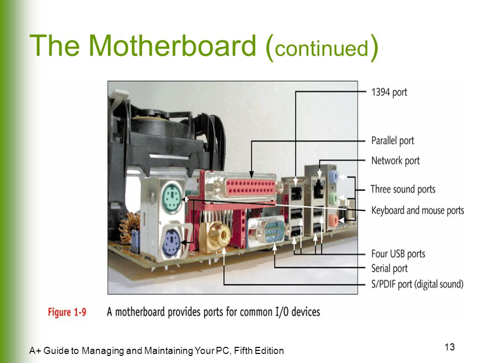 13 A+ Guide to Managing and Maintaining Your PC, Fifth Edition The Motherboard ( continued )