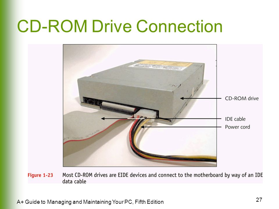 27 A+ Guide to Managing and Maintaining Your PC, Fifth Edition CD-ROM Drive Connection