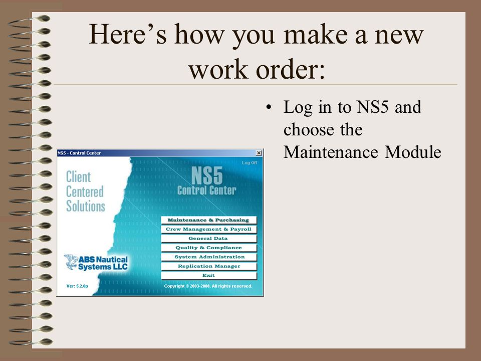 ns5 work orders how to create a work order for an unplanned event