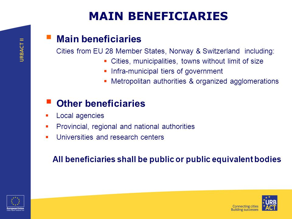 MAIN BENEFICIARIES  Main beneficiaries Cities from EU 28 Member States, Norway & Switzerland including:  Cities, municipalities, towns without limit of size  Infra-municipal tiers of government  Metropolitan authorities & organized agglomerations  Other beneficiaries  Local agencies  Provincial, regional and national authorities  Universities and research centers All beneficiaries shall be public or public equivalent bodies