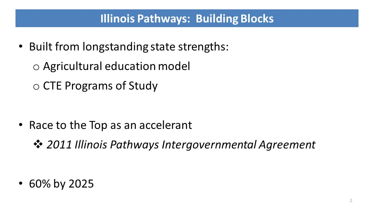 2 Illinois Pathways: Building Blocks Built from longstanding state strengths: o Agricultural education model o CTE Programs of Study Race to the Top as an accelerant  2011 Illinois Pathways Intergovernmental Agreement 60% by 2025