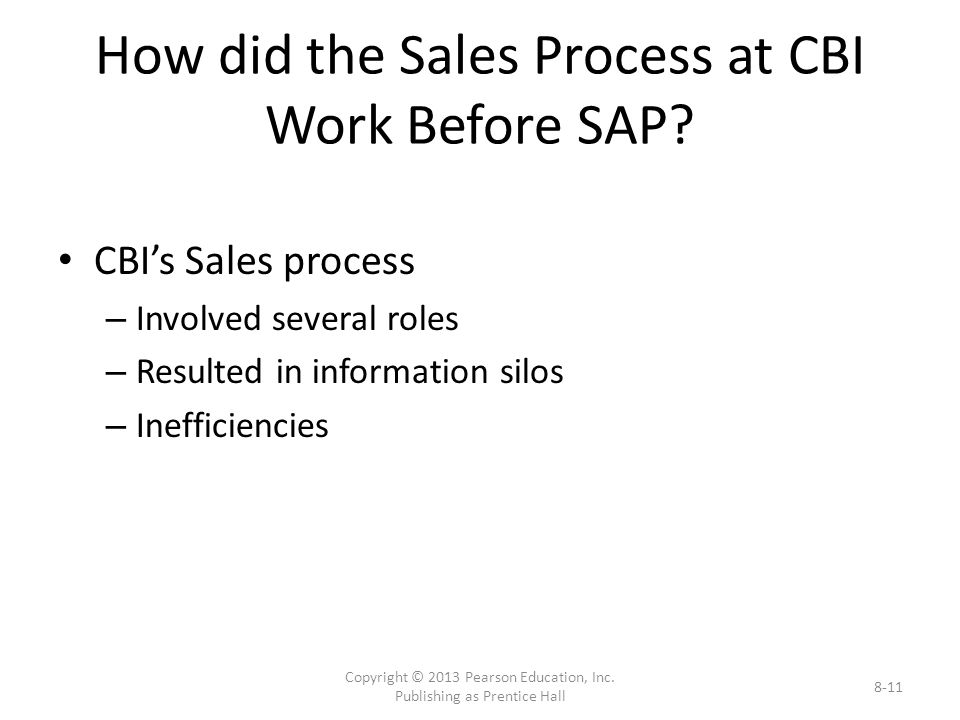 How did the Sales Process at CBI Work Before SAP.