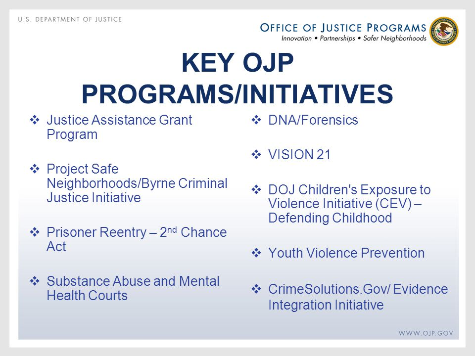 KEY OJP PROGRAMS/INITIATIVES  Justice Assistance Grant Program  Project Safe Neighborhoods/Byrne Criminal Justice Initiative  Prisoner Reentry – 2 nd Chance Act  Substance Abuse and Mental Health Courts  DNA/Forensics  VISION 21  DOJ Children s Exposure to Violence Initiative (CEV) – Defending Childhood  Youth Violence Prevention  CrimeSolutions.Gov/ Evidence Integration Initiative