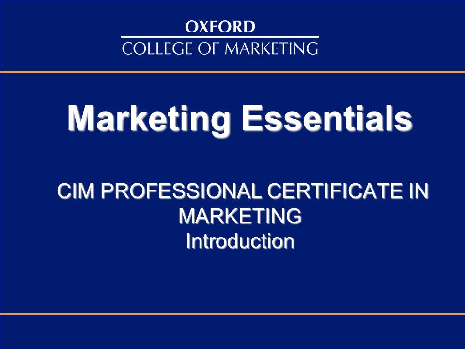 Marketing Essentials Cim Professional Certificate In Marketing