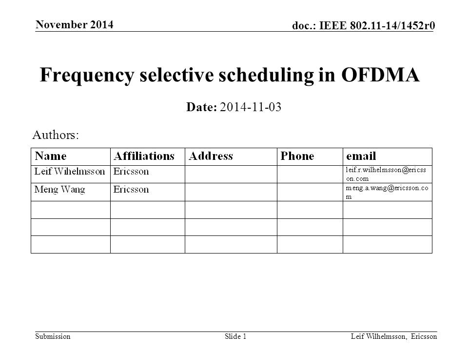 Submission doc.: IEEE /1452r0 November 2014 Leif Wilhelmsson, EricssonSlide 1 Frequency selective scheduling in OFDMA Date: Authors:
