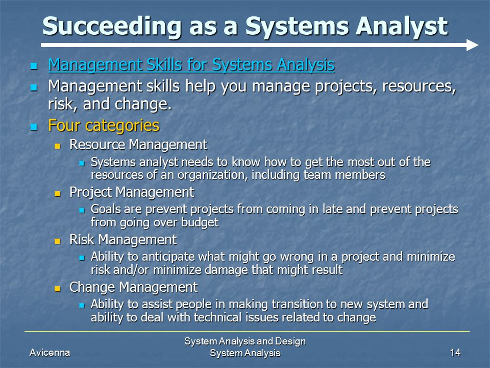 Avicenna System Analysis and Design System Analysis14 Succeeding as a Systems Analyst Management Skills for Systems Analysis Management Skills for Systems Analysis Management skills help you manage projects, resources, risk, and change.