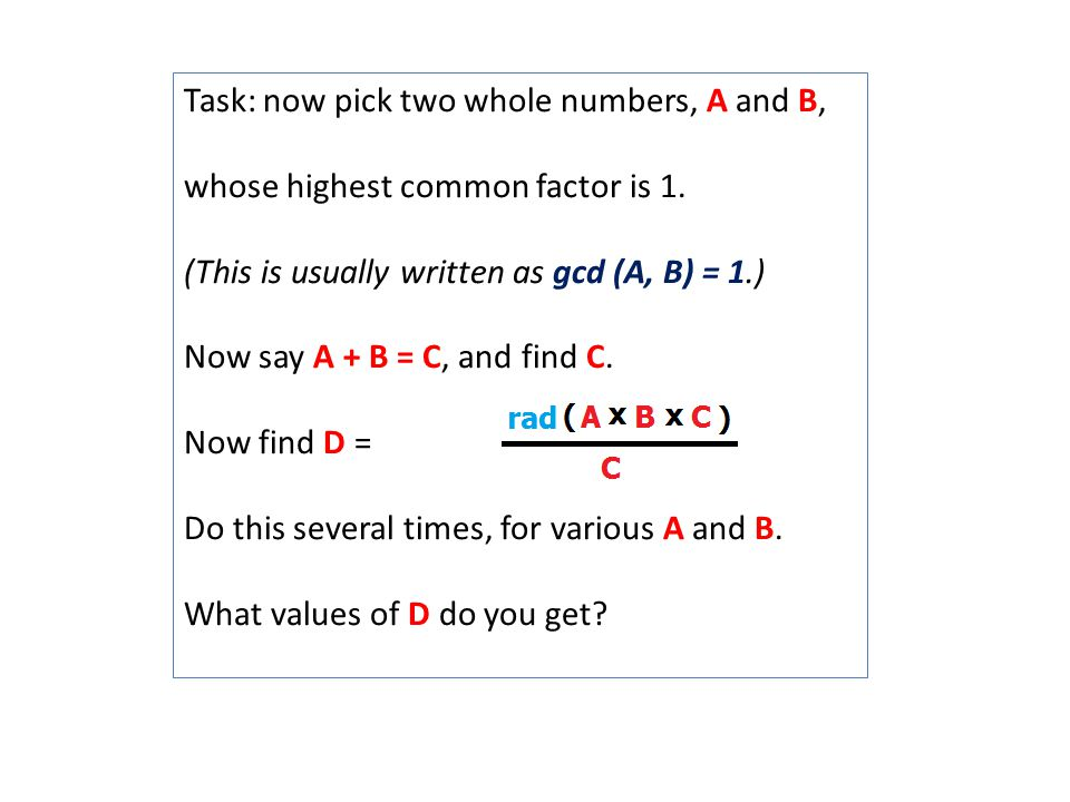 Activity 2-14: The ABC Conjecture - ppt download