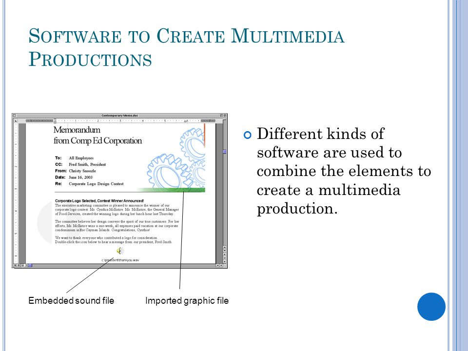 S OFTWARE TO C REATE M ULTIMEDIA P RODUCTIONS Different kinds of software are used to combine the elements to create a multimedia production.