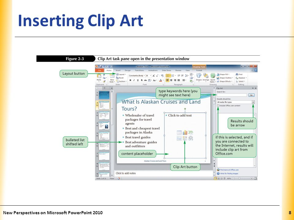 XP Inserting Clip Art New Perspectives on Microsoft PowerPoint 20108