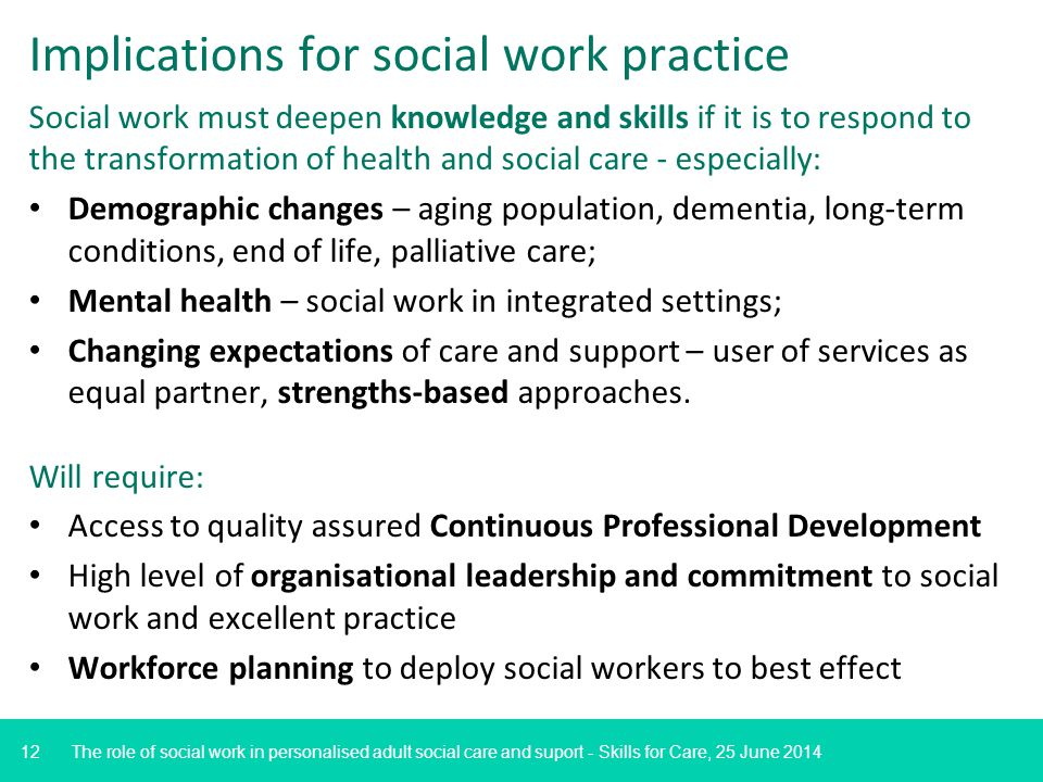 12 Implications for social work practice Social work must deepen knowledge and skills if it is to respond to the transformation of health and social care - especially: Demographic changes – aging population, dementia, long-term conditions, end of life, palliative care; Mental health – social work in integrated settings; Changing expectations of care and support – user of services as equal partner, strengths-based approaches.