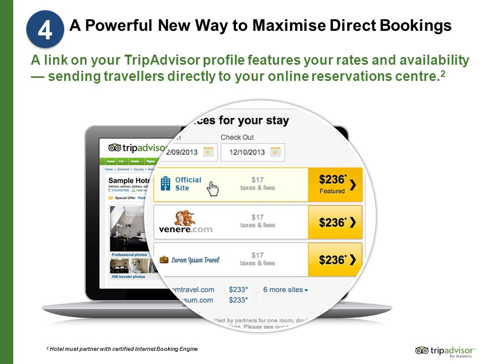 A Powerful New Way to Maximise Direct Bookings A link on your TripAdvisor profile features your rates and availability — sending travellers directly to your online reservations centre.