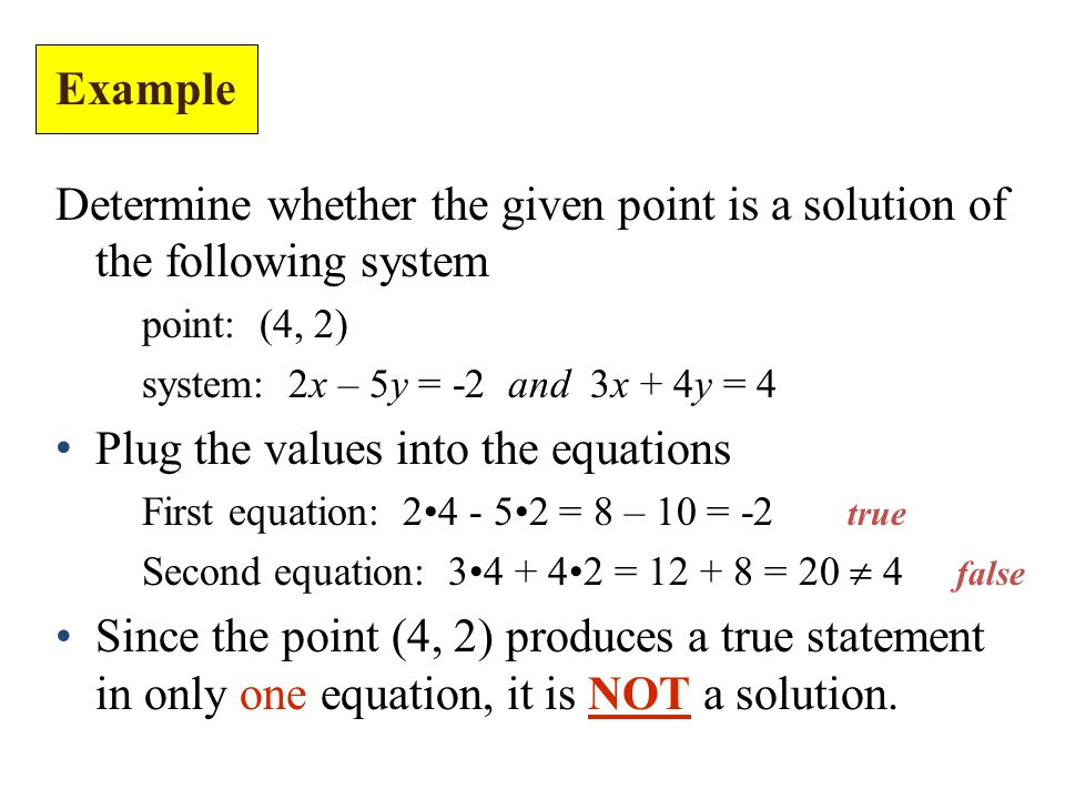 Determine whether the given point is a solution of the following system point: (4, 2) system: 2x – 5y = -2 and 3x + 4y = 4 Plug the values into the equations First equation: = 8 – 10 = -2 true Second equation: = = 20  4 false Since the point (4, 2) produces a true statement in only one equation, it is NOT a solution.