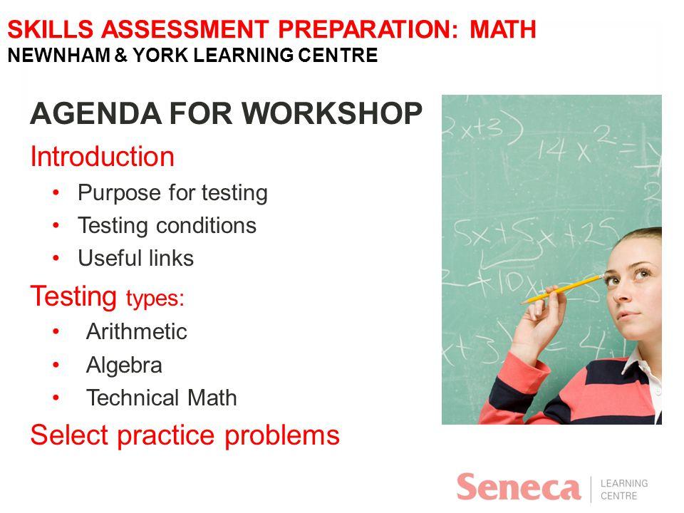 SKILLS ASSESSMENT PREPARATION: MATH NEWNHAM & YORK LEARNING CENTRE ...