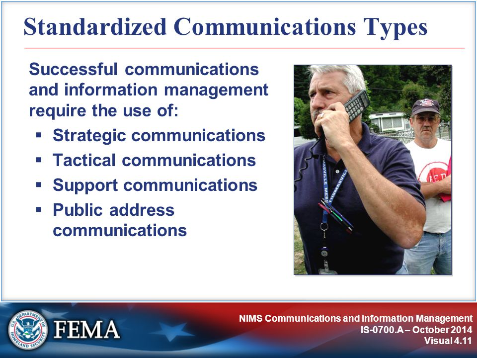 NIMS Communications and Information Management IS-0700.A – October 2014 Visual 4.11 Standardized Communications Types Successful communications and information management require the use of:  Strategic communications  Tactical communications  Support communications  Public address communications