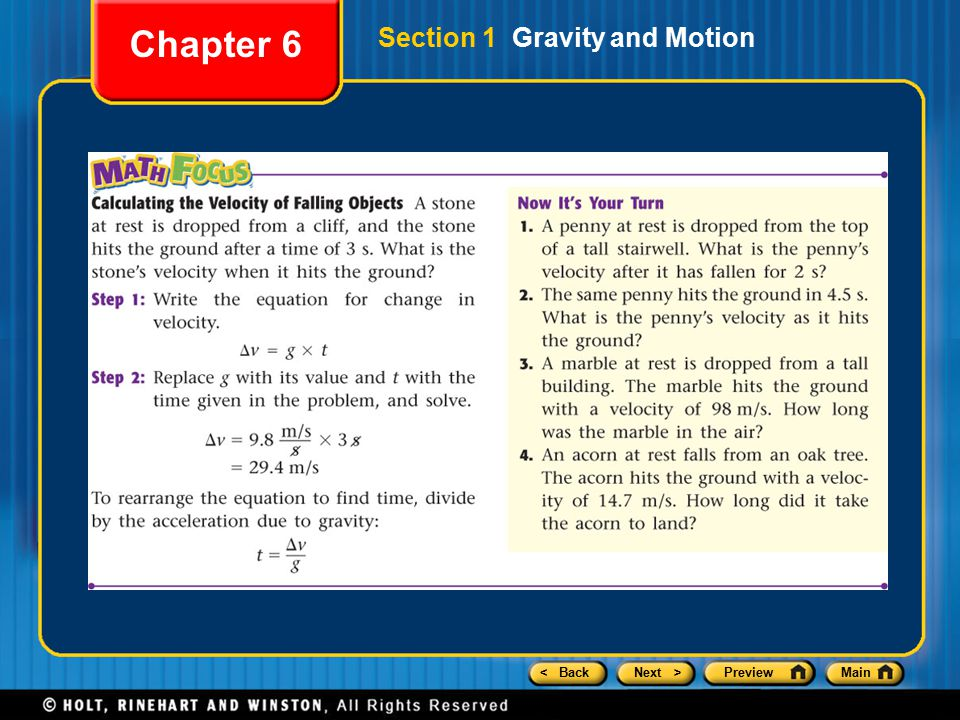 < BackNext >PreviewMain Chapter 6 Section 1 Gravity and Motion