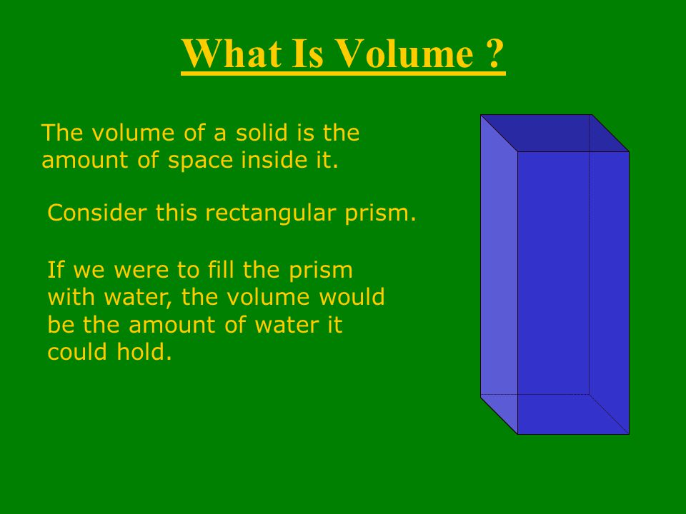 What Is Volume . The volume of a solid is the amount of space inside it.
