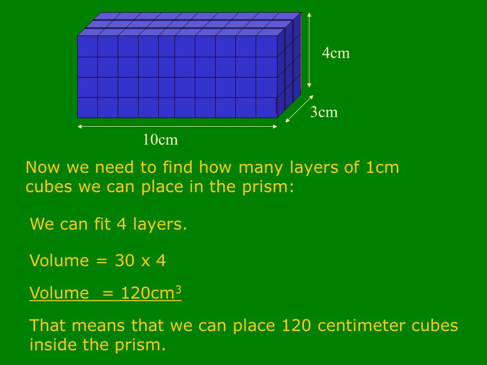 10cm 3cm 4cm Now we need to find how many layers of 1cm cubes we can place in the prism: We can fit 4 layers.