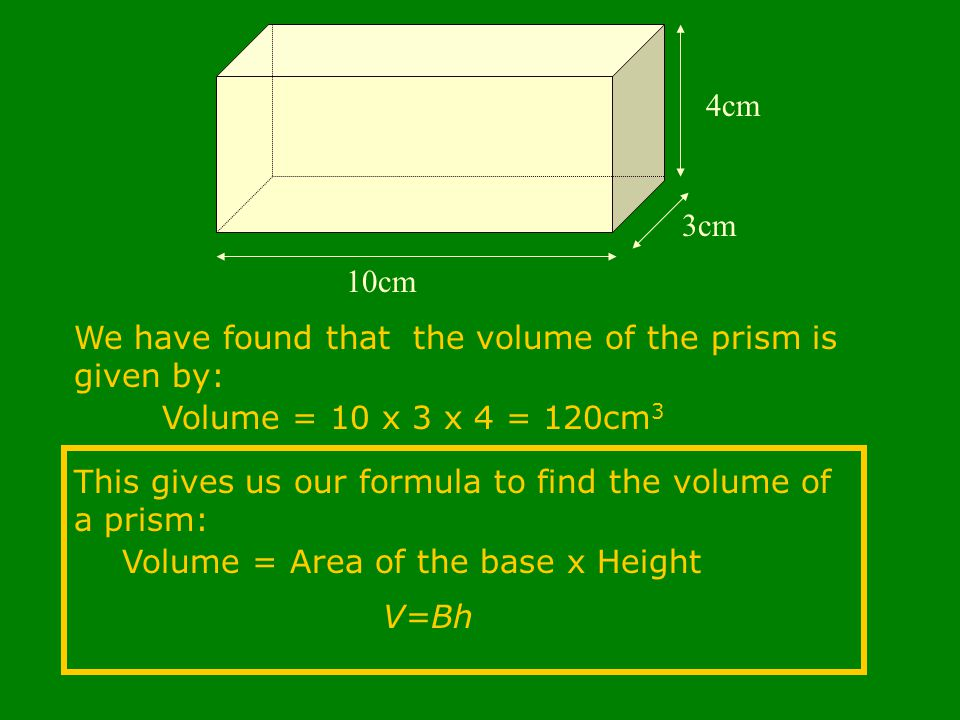 10cm 3cm 4cm We have found that the volume of the prism is given by: Volume = 10 x 3 x 4 = 120cm 3 This gives us our formula to find the volume of a prism: Volume = Area of the base x Height V=Bh