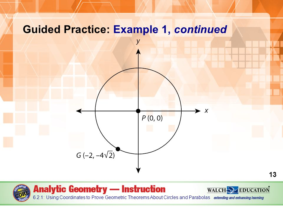 Guided Practice: Example 1, continued : Using Coordinates to Prove Geometric Theorems About Circles and Parabolas