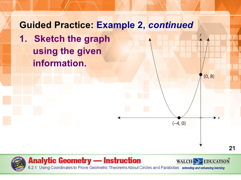Guided Practice: Example 2, continued 1.Sketch the graph using the given information.