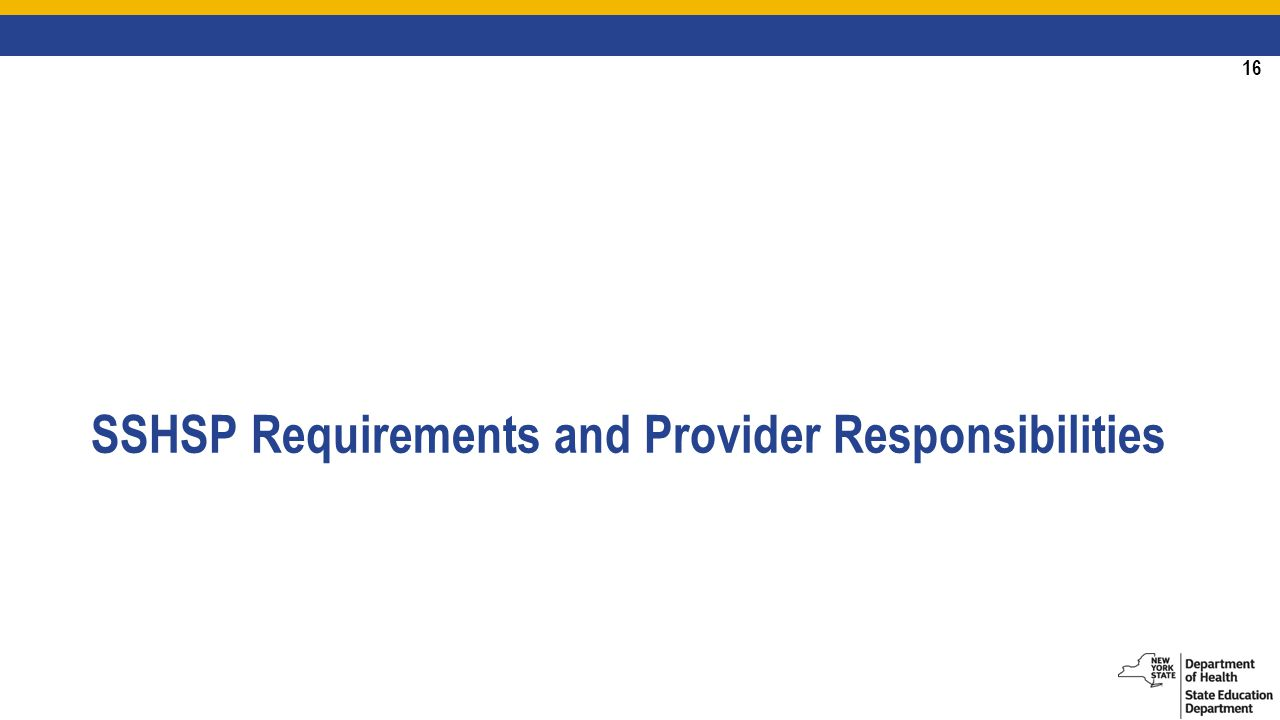 16 SSHSP Requirements and Provider Responsibilities