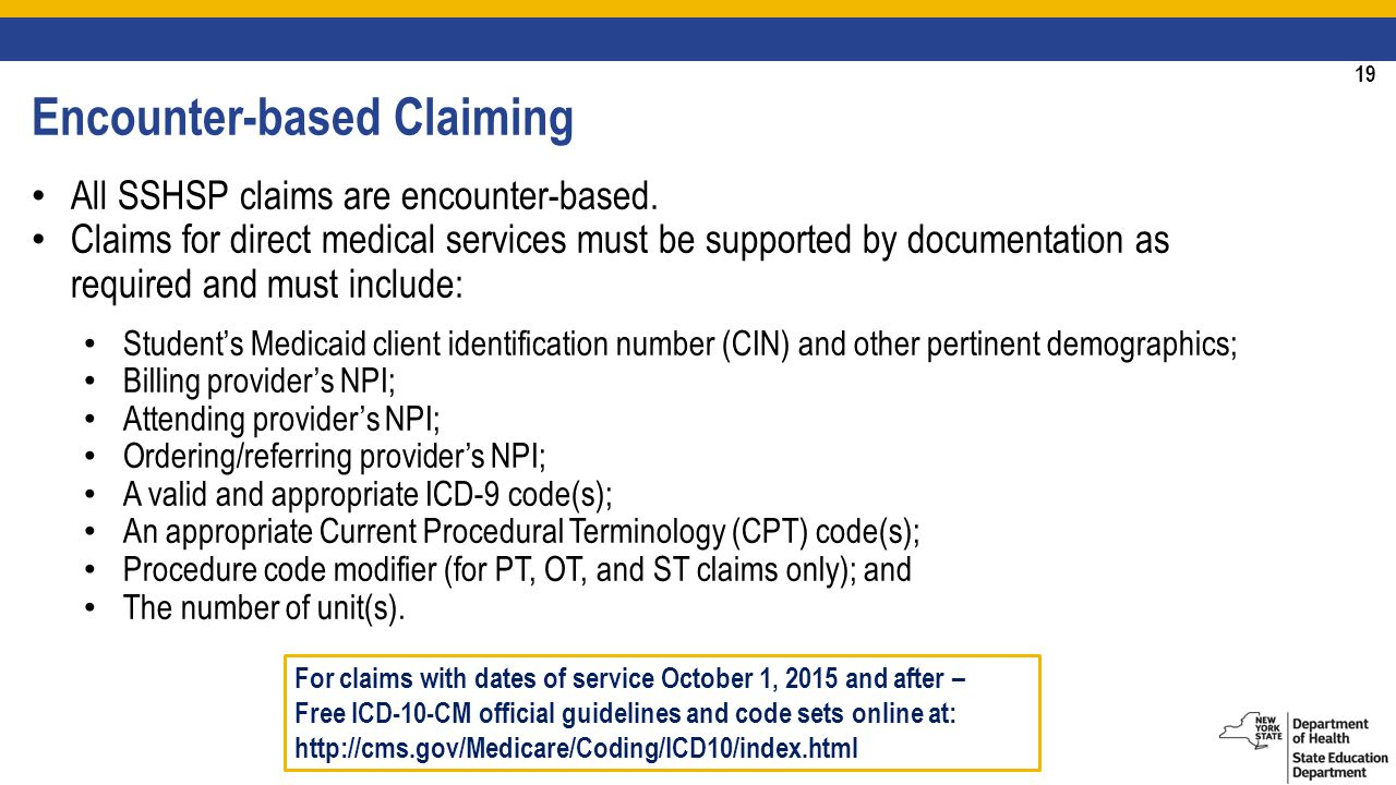 19 Encounter-based Claiming All SSHSP claims are encounter-based.