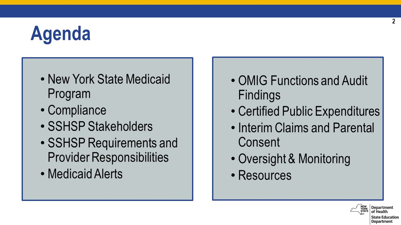2 Agenda New York State Medicaid Program Compliance SSHSP Stakeholders SSHSP Requirements and Provider Responsibilities Medicaid Alerts OMIG Functions and Audit Findings Certified Public Expenditures Interim Claims and Parental Consent Oversight & Monitoring Resources