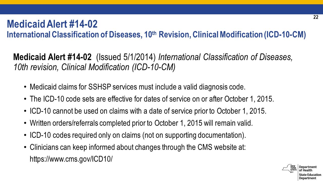 22 Medicaid Alert #14-02 International Classification of Diseases, 10 th Revision, Clinical Modification (ICD-10-CM) Medicaid Alert #14-02 (Issued 5/1/2014) International Classification of Diseases, 10th revision, Clinical Modification (ICD-10-CM) Medicaid claims for SSHSP services must include a valid diagnosis code.