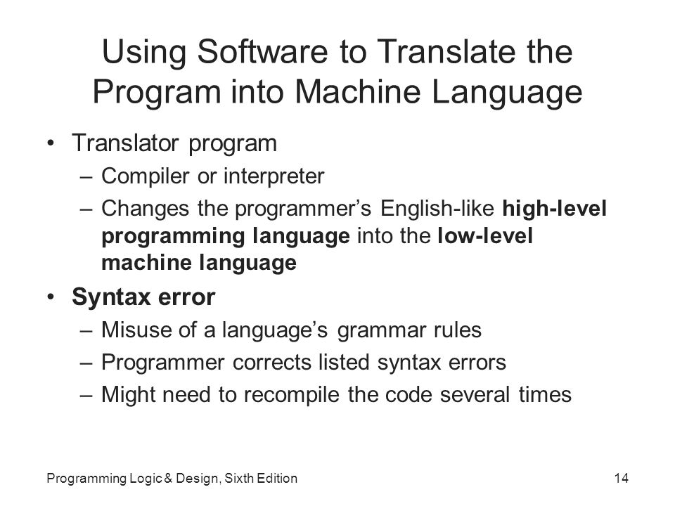 Using Software to Translate the Program into Machine Language Translator program –Compiler or interpreter –Changes the programmer's English-like high-level programming language into the low-level machine language Syntax error –Misuse of a language's grammar rules –Programmer corrects listed syntax errors –Might need to recompile the code several times Programming Logic & Design, Sixth Edition14