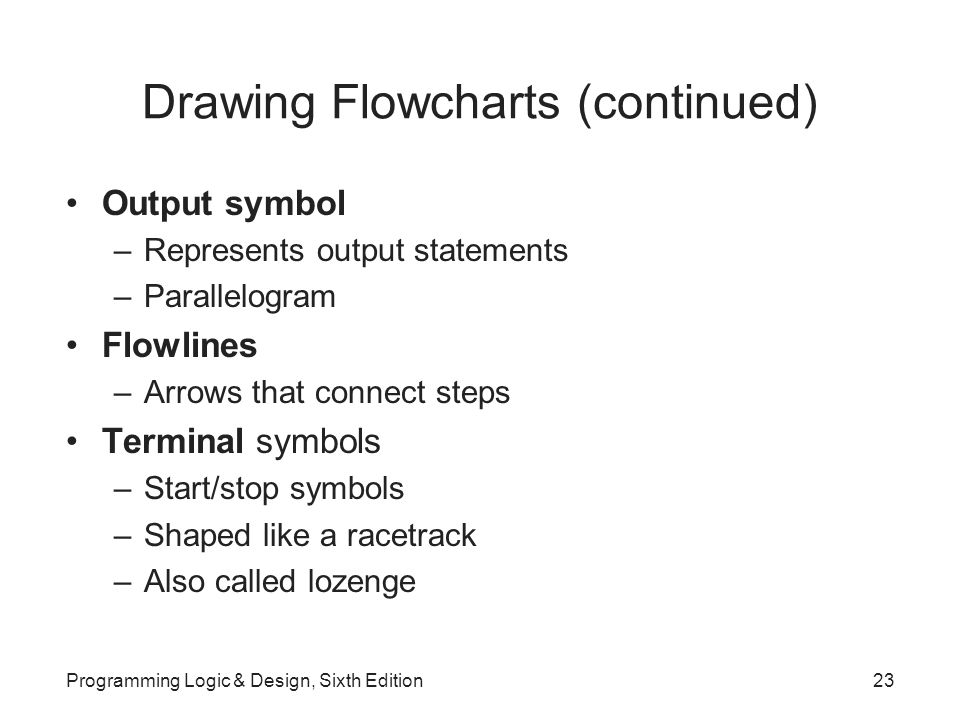 Drawing Flowcharts (continued) Output symbol –Represents output statements –Parallelogram Flowlines –Arrows that connect steps Terminal symbols –Start/stop symbols –Shaped like a racetrack –Also called lozenge Programming Logic & Design, Sixth Edition23