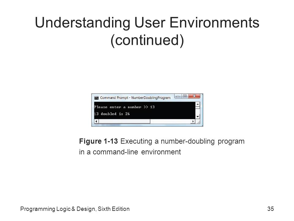 Understanding User Environments (continued) Figure 1-13 Executing a number-doubling program in a command-line environment Programming Logic & Design, Sixth Edition35