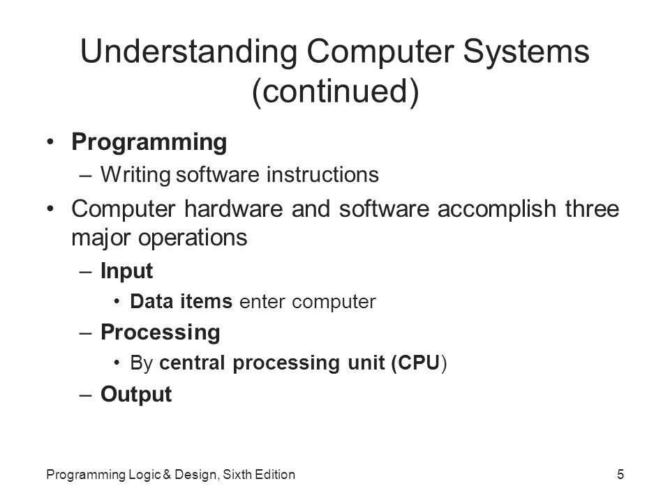 Understanding Computer Systems (continued) Programming –Writing software instructions Computer hardware and software accomplish three major operations –Input Data items enter computer –Processing By central processing unit (CPU) –Output Programming Logic & Design, Sixth Edition5