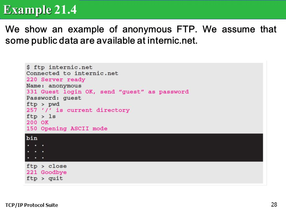 TCP/IP Protocol Suite 28 We show an example of anonymous FTP.