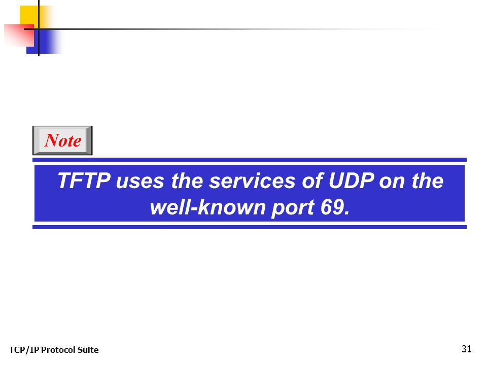 TCP/IP Protocol Suite 31 TFTP uses the services of UDP on the well-known port 69. Note