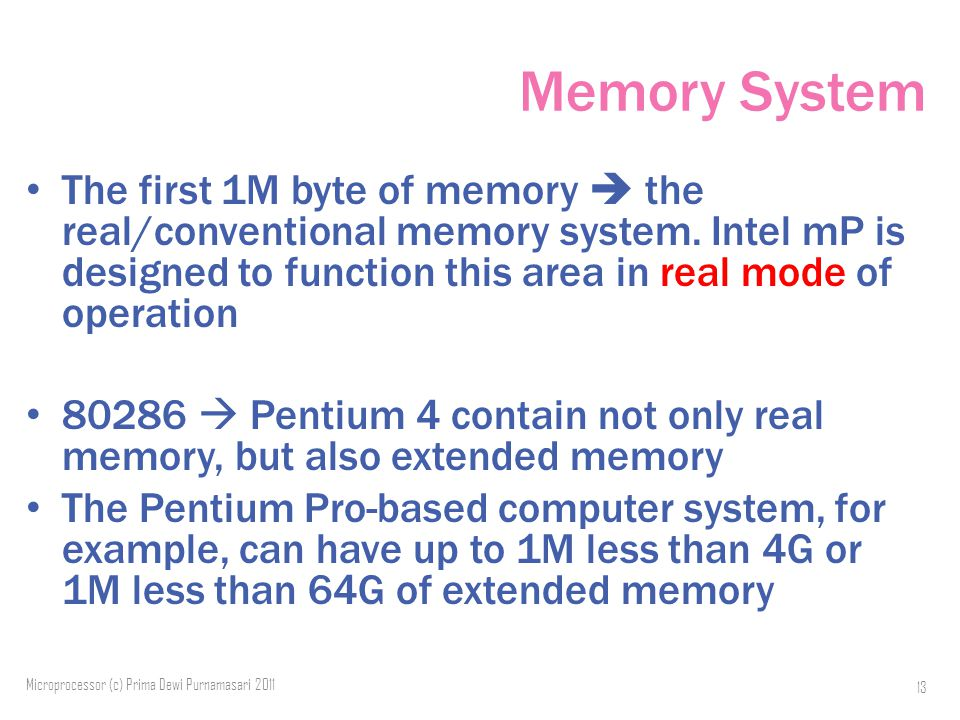 Memory System The first 1M byte of memory  the real/conventional memory system.