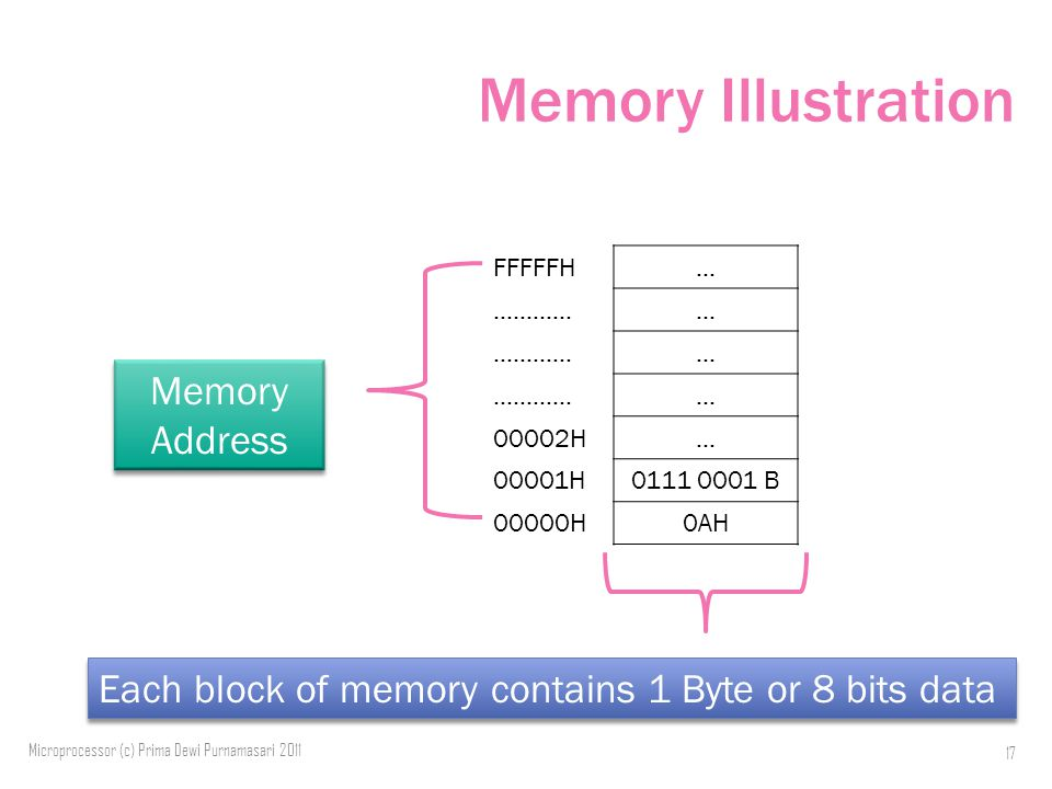 Memory Illustration FFFFFH… …………… … … 00002H… 00001H B 00000H0AH Microprocessor (c) Prima Dewi Purnamasari Memory Address Each block of memory contains 1 Byte or 8 bits data
